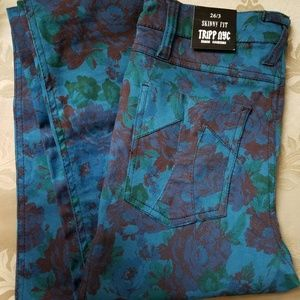 High waisted floral skinny jeans by Tripp NYC